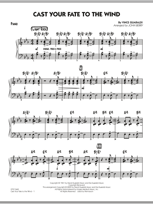 Cast Your Fate to the Wind - Piano (Jazz Ensemble)