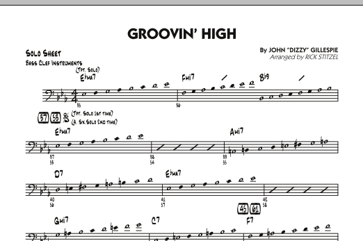 Groovin' High - Bass Clef Solo Sheet (Jazz Ensemble)