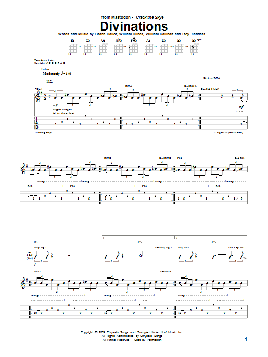 Tablature guitare Divinations de Mastodon - Tablature Guitare