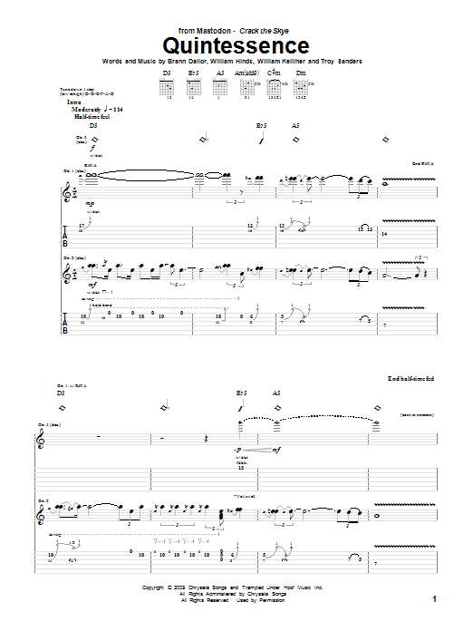 Tablature guitare Quintessence de Mastodon - Tablature Guitare