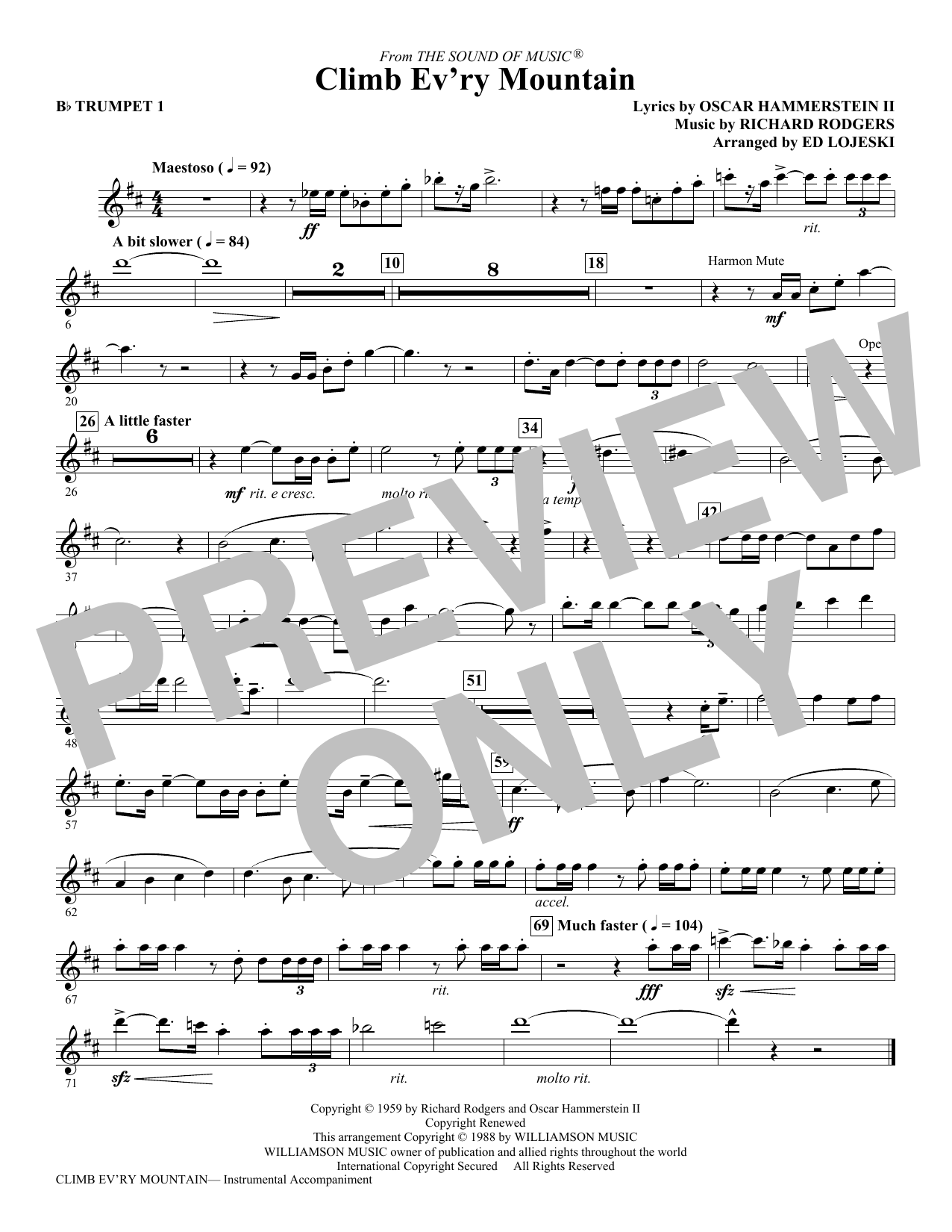 Climb Ev'ry Mountain (complete set of parts) sheet music for orchestra/band (chamber ensemble) by Ed Lojeski, Oscar II Hammerstein and Richard Rodgers. Score Image Preview.