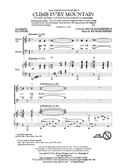 Climb Ev'ry Mountain (from The Sound Of Music) (arr. Ed Lojeski) Sheet Music