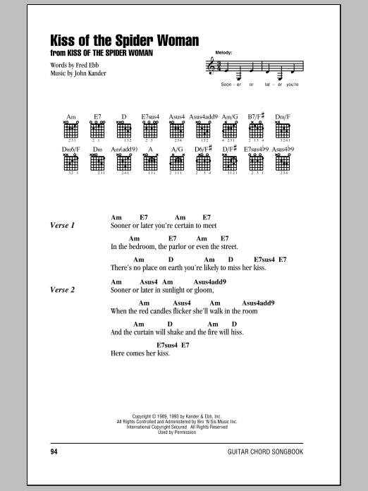 Kiss Of The Spider Woman Sheet Music