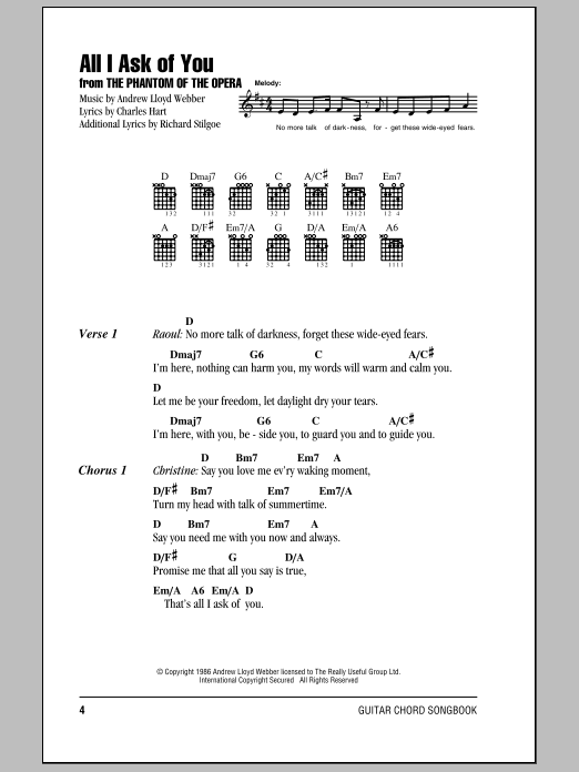 All I Ask Of You Sheet Music Direct