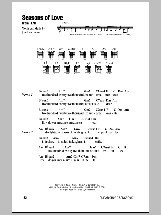 Seasons Of Love (from Rent) Sheet Music