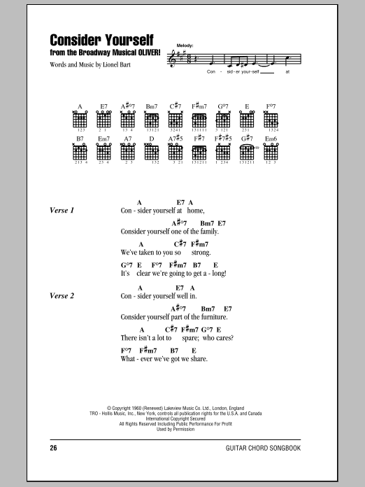 Consider Yourself by Lionel Bart - Guitar Chords/Lyrics - Guitar Instructor