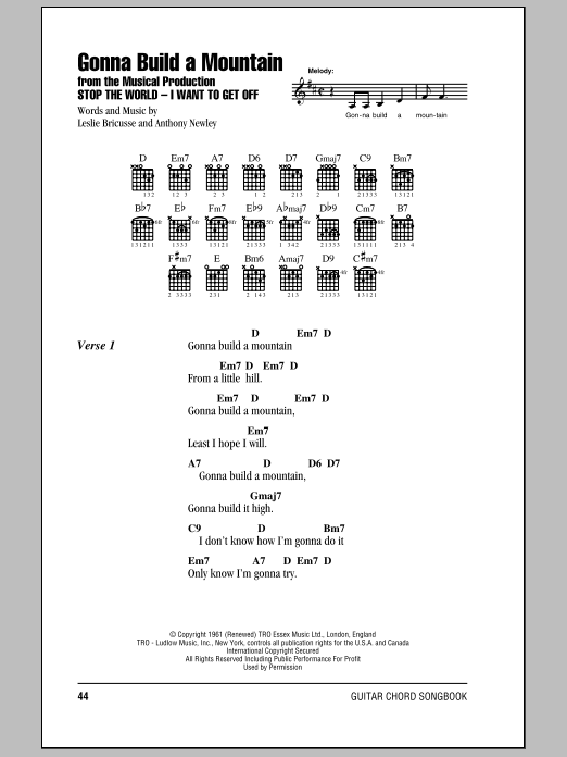 Gonna Build A Mountain by Leslie Bricusse - Guitar Chords/Lyrics ...