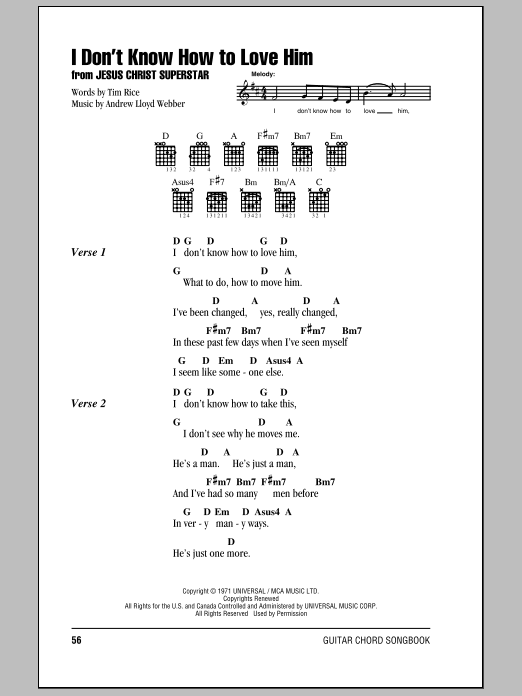 I Dont Know How To Love Him By Andrew Lloyd Webber Guitar Chords