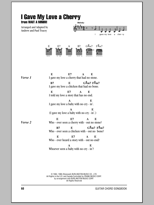 I Gave My Love A Cherry (The Riddle Song) (Guitar Chords/Lyrics)