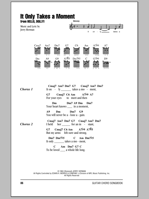 It Only Takes A Moment (Guitar Chords/Lyrics)