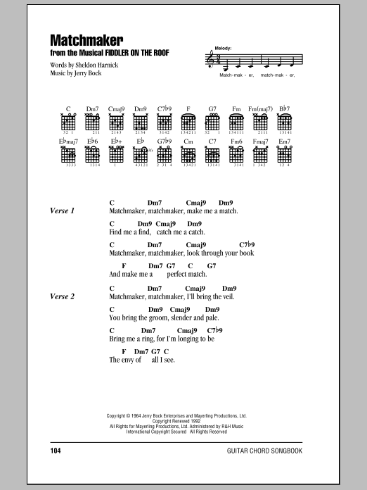 Matchmaker (Guitar Chords/Lyrics)