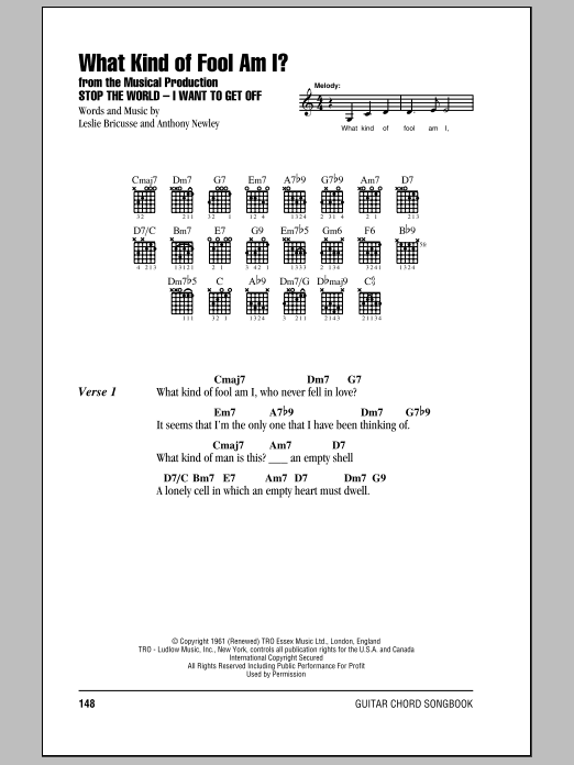 What Kind Of Fool Am I? Sheet Music