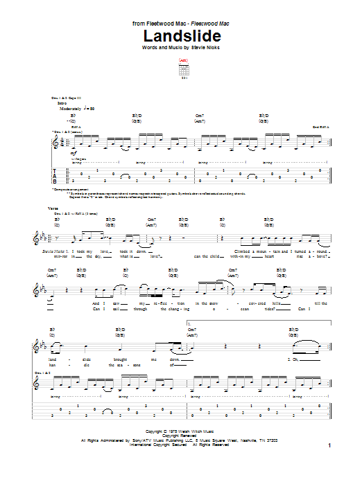 Landslide Guitar Tab By Fleetwood Mac Guitar Tab 70763