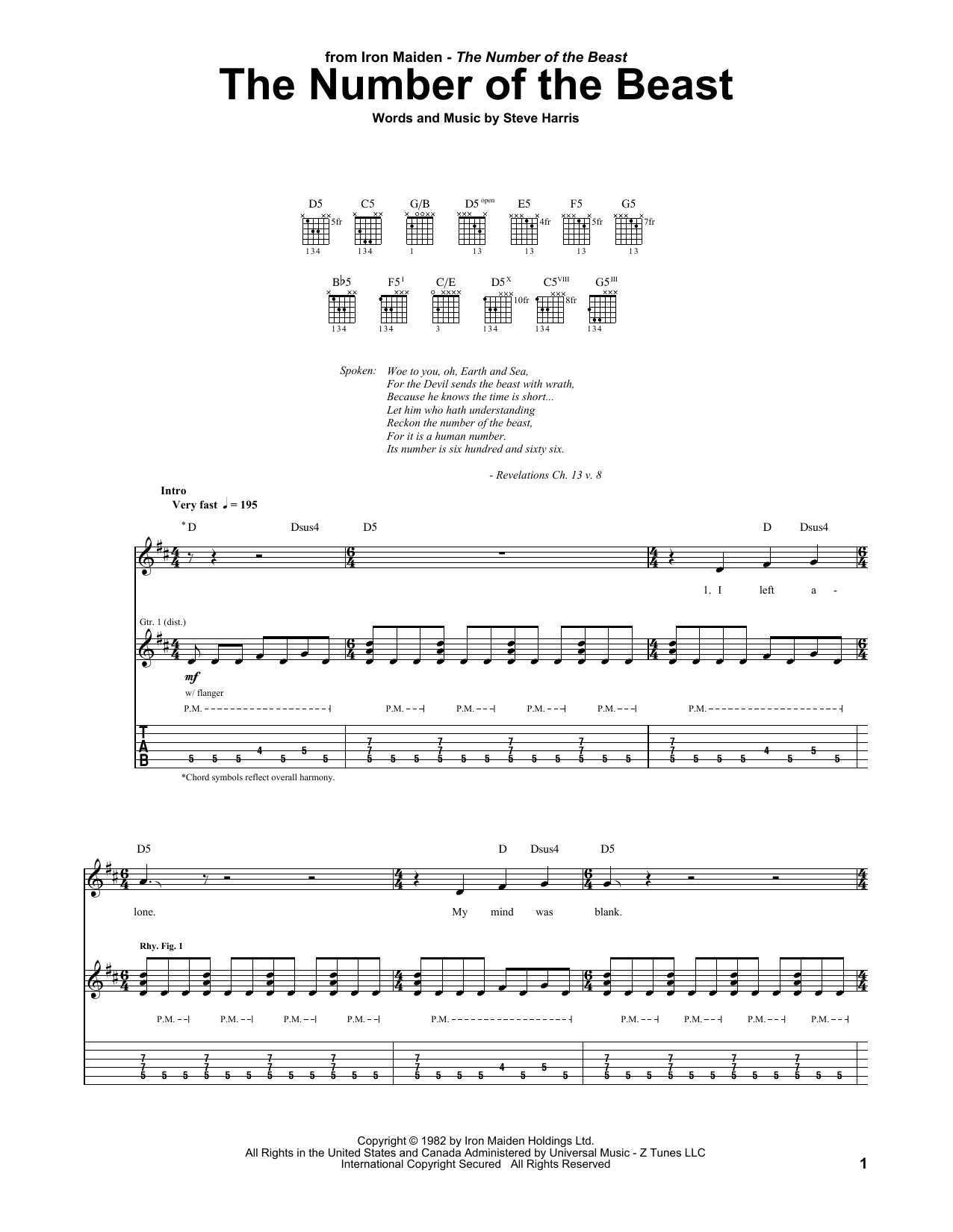 Tablature guitare The Number Of The Beast de Iron Maiden - Tablature Guitare
