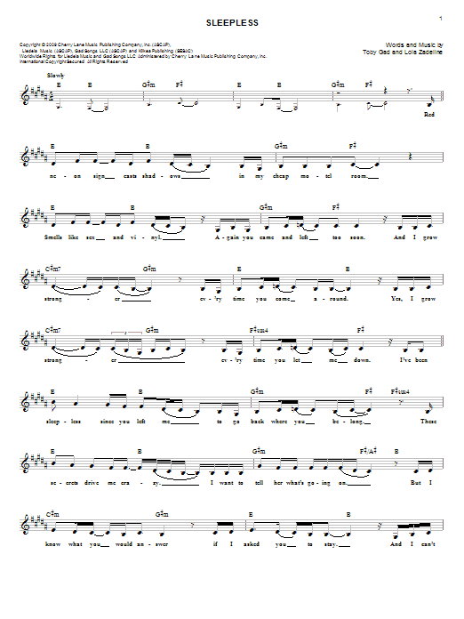 Sleepless Sheet Music