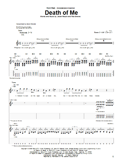 Tablature guitare Death Of Me de RED - Tablature Guitare