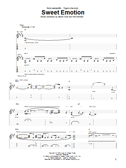 Tablature guitare Sweet Emotion de Aerosmith - Tablature Guitare