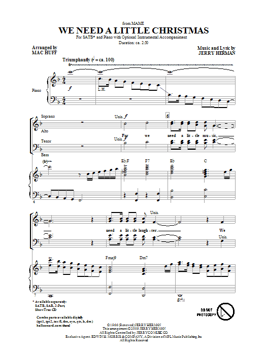 We Need A Little Christmas (from Mame) (arr. Mac Huff) Sheet Music