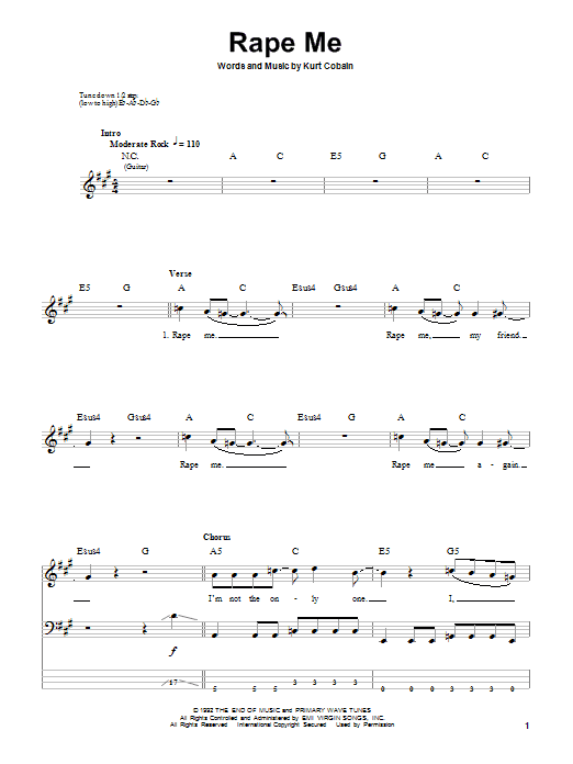Tablature guitare Rape Me de Nirvana - Tablature Basse