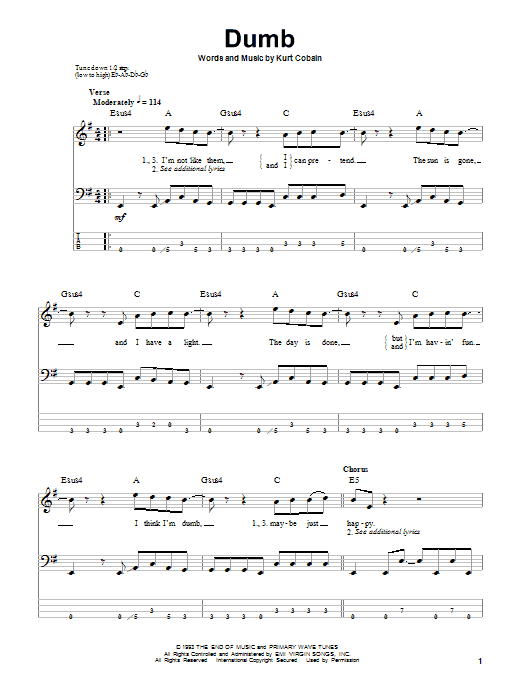 Tablature guitare Dumb de Nirvana - Tablature Basse