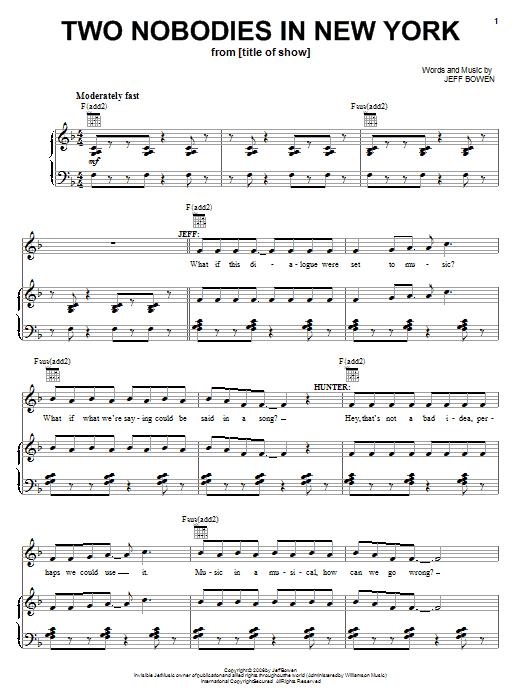 Partition piano Two Nobodies In New York de Jeff Bowen - Piano Voix Guitare (Mélodie Main Droite)