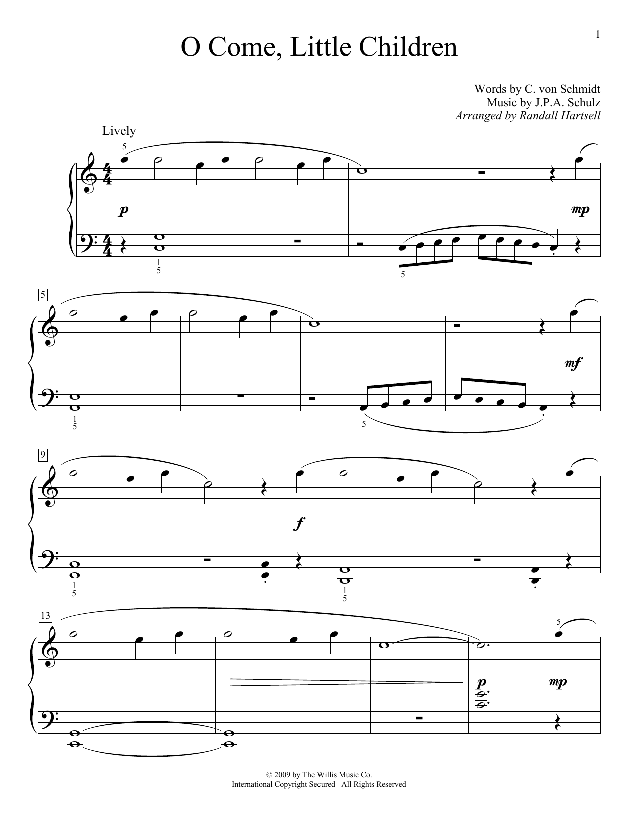 Partition piano O Come, Little Children de C. von Schmidt - Autre