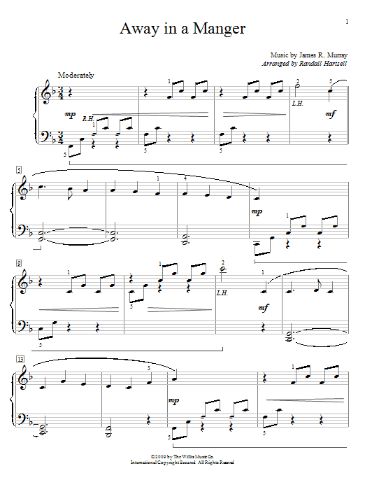 Partition piano Away In A Manger de Traditional - Piano Solo