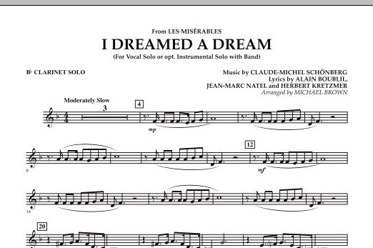 """I Dreamed a Dream (from """"Les Miserables"""") - Bb Clarinet Solo (Concert Band)"""