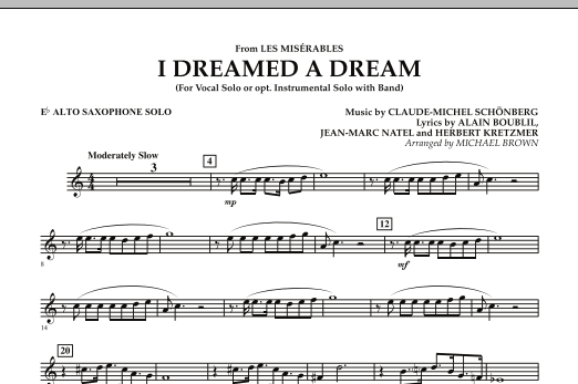"""I Dreamed a Dream (from """"Les Miserables"""") - Eb Alto Saxophone Solo (Concert Band)"""