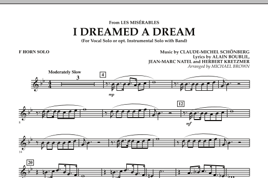 """I Dreamed a Dream (from """"Les Miserables"""") - F Horn Solo (Concert Band)"""