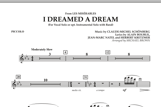 """I Dreamed a Dream (from """"Les Miserables"""") - Piccolo (Concert Band)"""