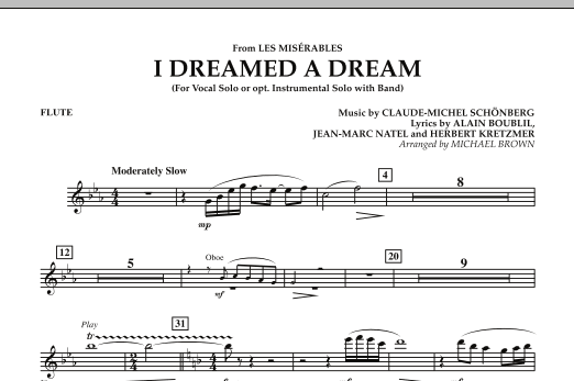 """I Dreamed a Dream (from """"Les Miserables"""") - Flute (Concert Band)"""