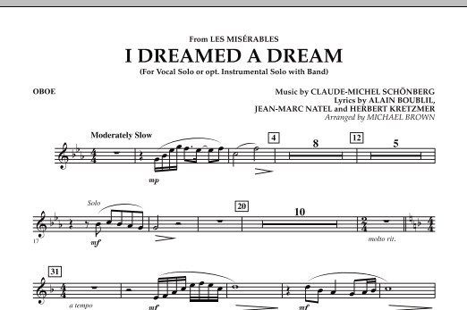 """I Dreamed a Dream (from """"Les Miserables"""") - Oboe (Concert Band)"""