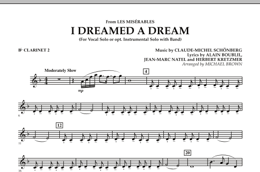 """I Dreamed a Dream (from """"Les Miserables"""") - Bb Clarinet 2 (Concert Band)"""