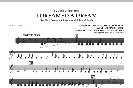 """I Dreamed a Dream (from """"Les Miserables"""") - Bb Clarinet 3 (Concert Band)"""