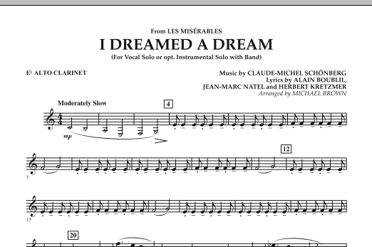 """I Dreamed a Dream (from """"Les Miserables"""") - Eb Alto Clarinet (Concert Band)"""