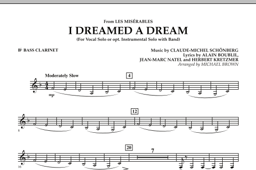 """I Dreamed a Dream (from """"Les Miserables"""") - Bb Bass Clarinet (Concert Band)"""