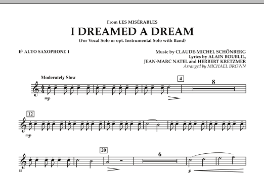 """I Dreamed a Dream (from """"Les Miserables"""") - Eb Alto Saxophone 1 (Concert Band)"""