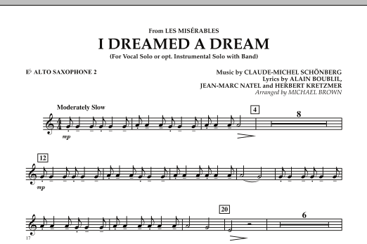 """I Dreamed a Dream (from """"Les Miserables"""") - Eb Alto Saxophone 2 (Concert Band)"""