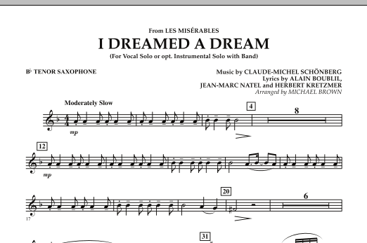 """I Dreamed a Dream (from """"Les Miserables"""") - Bb Tenor Saxophone (Concert Band)"""