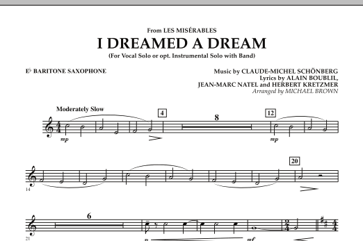 """I Dreamed a Dream (from """"Les Miserables"""") - Eb Baritone Saxophone (Concert Band)"""