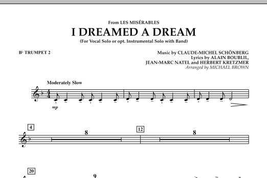 """I Dreamed a Dream (from """"Les Miserables"""") - Bb Trumpet 2 (Concert Band)"""