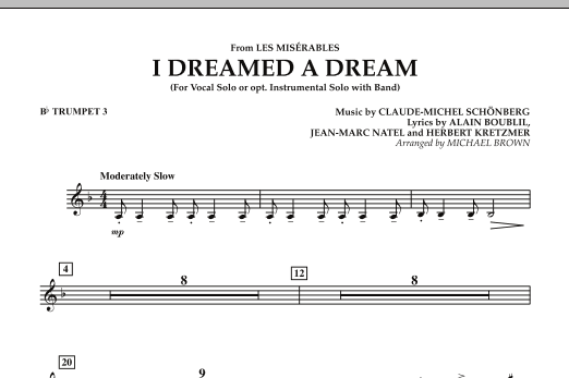 """I Dreamed a Dream (from """"Les Miserables"""") - Bb Trumpet 3 (Concert Band)"""