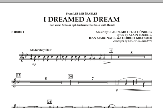 """I Dreamed a Dream (from """"Les Miserables"""") - F Horn 1 (Concert Band)"""
