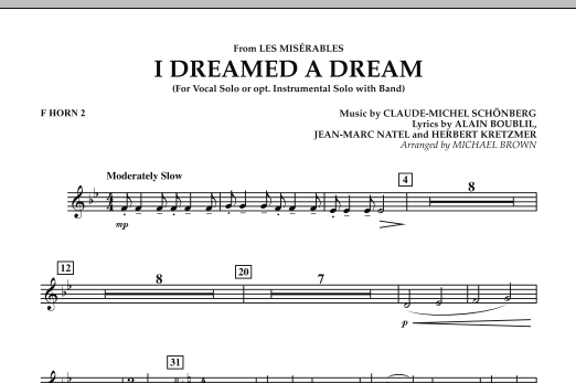 """I Dreamed a Dream (from """"Les Miserables"""") - F Horn 2 (Concert Band)"""
