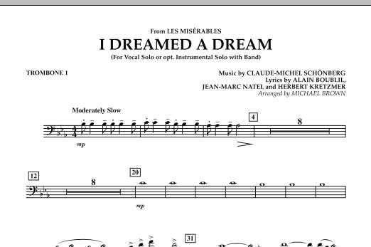 """I Dreamed a Dream (from """"Les Miserables"""") - Trombone 1 (Concert Band)"""