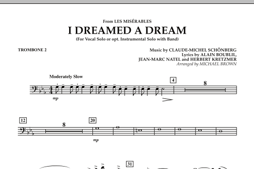 """I Dreamed a Dream (from """"Les Miserables"""") - Trombone 2 (Concert Band)"""