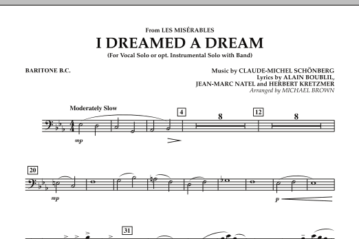"""I Dreamed a Dream (from """"Les Miserables"""") - Baritone B.C. (Concert Band)"""