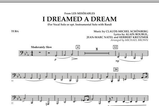 """I Dreamed a Dream (from """"Les Miserables"""") - Tuba (Concert Band)"""