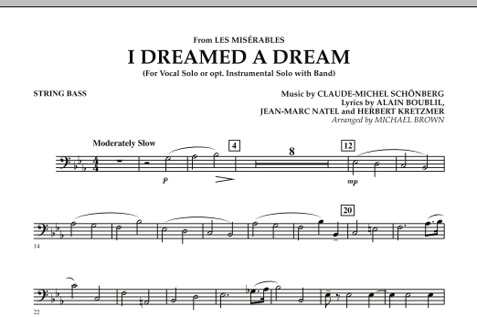 """I Dreamed a Dream (from """"Les Miserables"""") - String Bass (Concert Band)"""